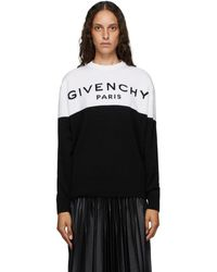 Givenchy - ブラック And ホワイト Paris ロゴ カシミア セーター - Lyst