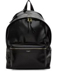 Saint Laurent Black Coated Canvas City Backpack
