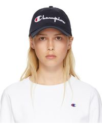 Champion - Navy Large Logo Baseball Cap - Lyst