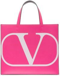 Valentino Cabas rose Small VLogo Shopper Garavani