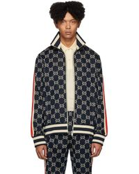 Gucci Navy Cotton Jacquard GG Jacket - Blue