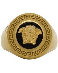 Versace Black And Gold Medusa Medallion Ring - Metallic