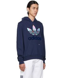 Noah Adidas Originals エディション ネイビー フローラル フーディ - ブルー