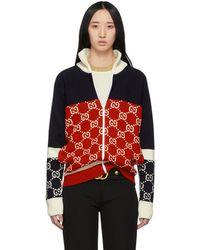 Gucci - ネイビー And レッド GG ジップアップ セーター - Lyst