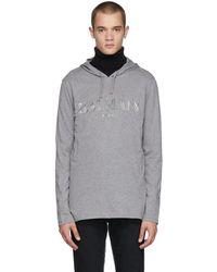 Balmain - Pull a capuche et a logo gris - Lyst