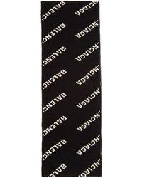 Balenciaga - Foulard noir et blanc All Over Logo - Lyst