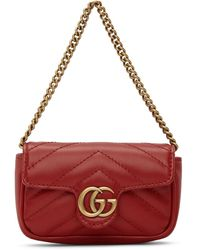 Gucci - Red Marmont 2.0 Coin Case Bag - Lyst