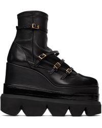 Sacai Strap Sock Platform Boots - Black