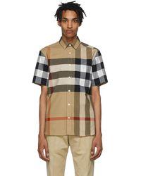 Burberry Beige Check Windsor Short Sleeve Shirt - Natural