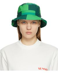 Sunnei Chapeau à imprimé vert
