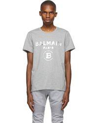 Balmain - グレー ロゴ T シャツ - Lyst