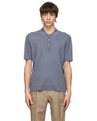 Dunhill ブルー Diagonal Texture ポロシャツ