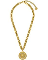 Versace - Collier a chaine dore Large Medusa Crystal - Lyst