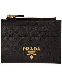 Prada ブラック ジップ ロゴ カード ホルダー
