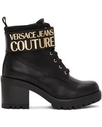 Versace Jeans Couture ブラック ロゴ レース アップ ブーツ