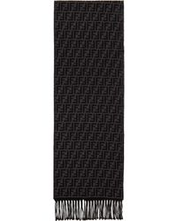 Fendi Black And Gray Wool Forever Scarf