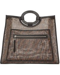 Fendi - Brown Mesh Large Forever Tote - Lyst