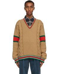 Gucci - タン ケーブル V ネック セーター - Lyst