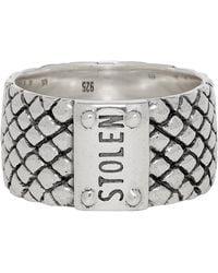 Stolen Girlfriends Club Silver Wide Band Snake Ring - Metallic