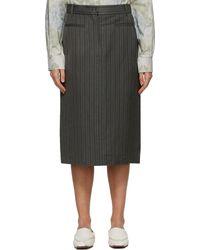 Acne Studios グレー ストライプ Structured スカート