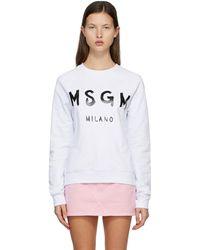 MSGM ホワイト & ブラック Brushed ロゴ スウェットシャツ