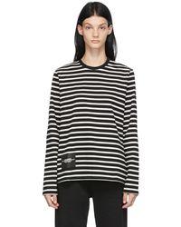 Marc Jacobs ブラック & ホワイト The Striped T-shirt ロング スリーブ T シャツ