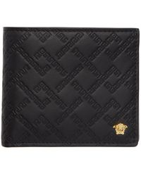 Versace Black And Gold Greek Key Wallet