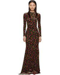Balenciaga ブラック ベルベット イブニング ロング ドレス - マルチカラー