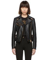 Versace Jeans Couture ブラック レザー Perfecto ジャケット