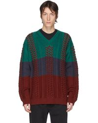 Y. Project マルチカラー ブレイド ニット V ネック セーター - グリーン