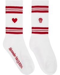 Alexander McQueen White & Red Stripe Socks
