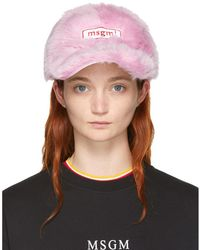 MSGM - Pink Faux-fur Cap - Lyst
