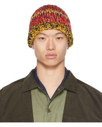 Nicholas Daley Red & Yellow Hand-crocheted Beanie - Multicolour