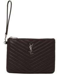 Saint Laurent - Purple Quilted Monogram Pouch - Lyst