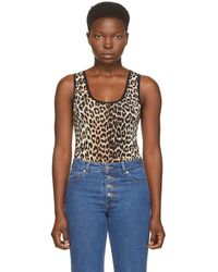 Ganni Black And Brown Sleeveless Bodysuit - Multicolour