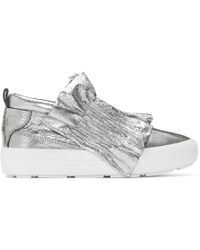 MSGM - Silver Metallic Ruffle Slip-on Trainers - Lyst