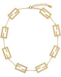 Fendi ゴールド Baguette ネックレス - ブラック