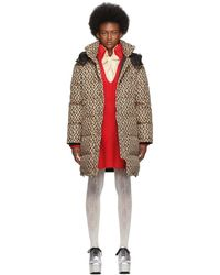 Gucci Beige And Black Down Oversized GG Coat - Natural