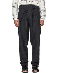 Toogood Black Linen Stonemason Trousers