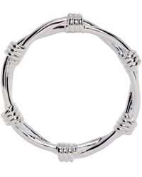 Stolen Girlfriends Club Silver Skinny Barbed Wire Ring - Metallic