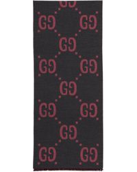 Gucci - グレー And ピンク ジャカード ウール GG スカーフ - Lyst