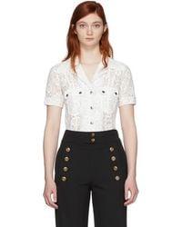 Chloé - White Lace Patch Pocket Shirt - Lyst