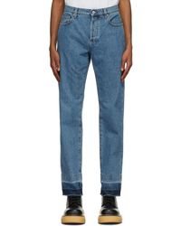 JW Anderson Blue Raw Hem Slim Jeans