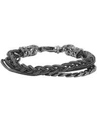 Emanuele Bicocchi Black Rhodium Chain And Braided Bracelet