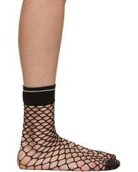 Prada Black Logo Fishnet Sock