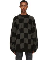 Balenciaga ブラック & グレー Checkered セーター