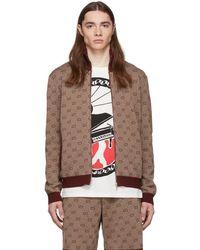 Gucci Burgundy GG Jacquard Knit Jacket - Brown