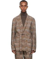 Lemaire Blazer à double boutonnage et ceinture en soie rose Brick Print - Marron