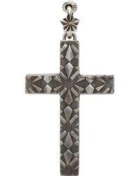 Gucci Boucle d'oreille à clip argentée Cross - Métallisé