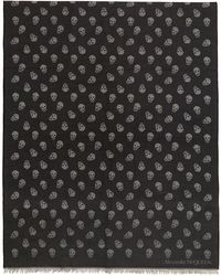 Alexander McQueen Black And Gray All Over Skull Scarf - Multicolor